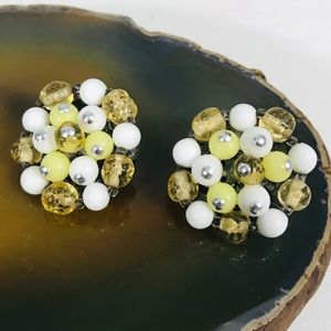 Vintage Clip Yellow White Cluster Earrings JAPAN
